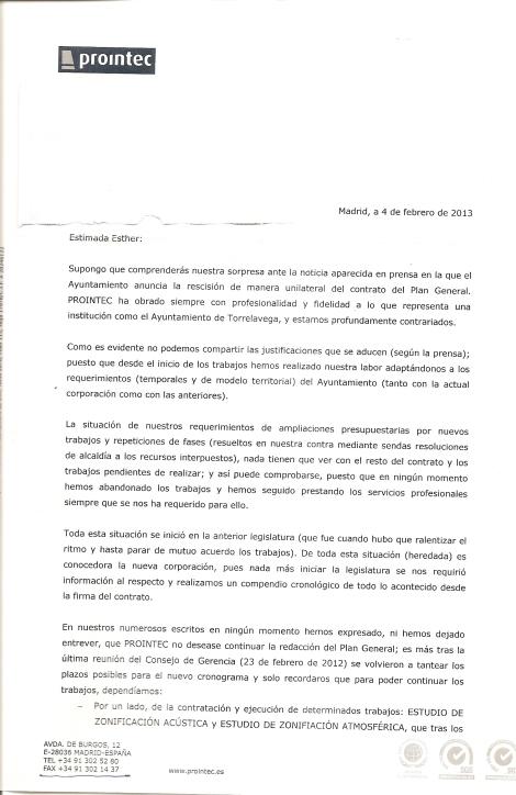 Carta enviada por PROINTEC a la ACPT