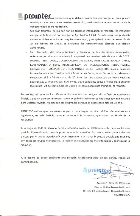 Carta enviada por PROINETEC a la ACPT