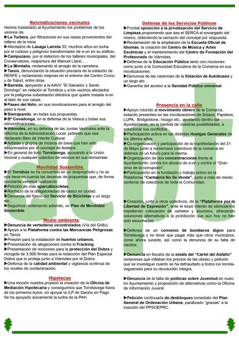 Interior del folleto informativo de la campaña