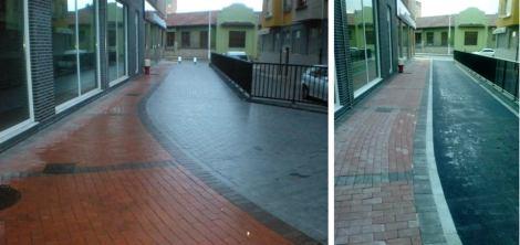 Pintor Modinos peatonalizada y resultado tras rehacer la calle.