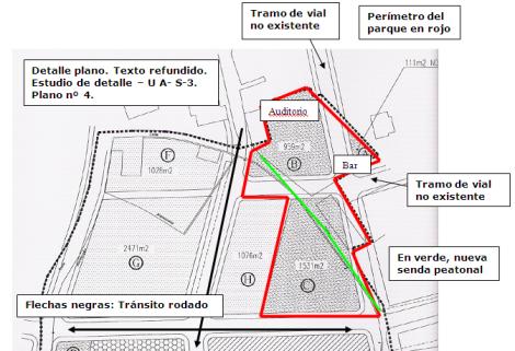 Plano del parque de Sierrapando, tal como lo ha propuesto la Asociación de Vecinos