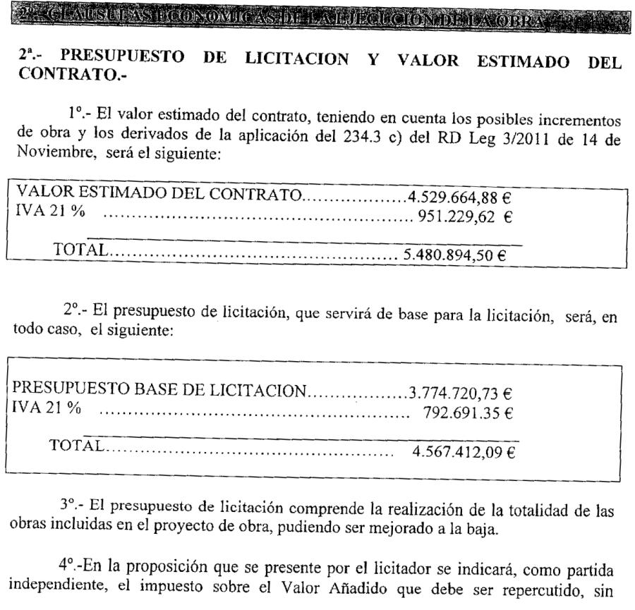 Presupuestos de licitación (5,5 y 4,5 Millones de €)