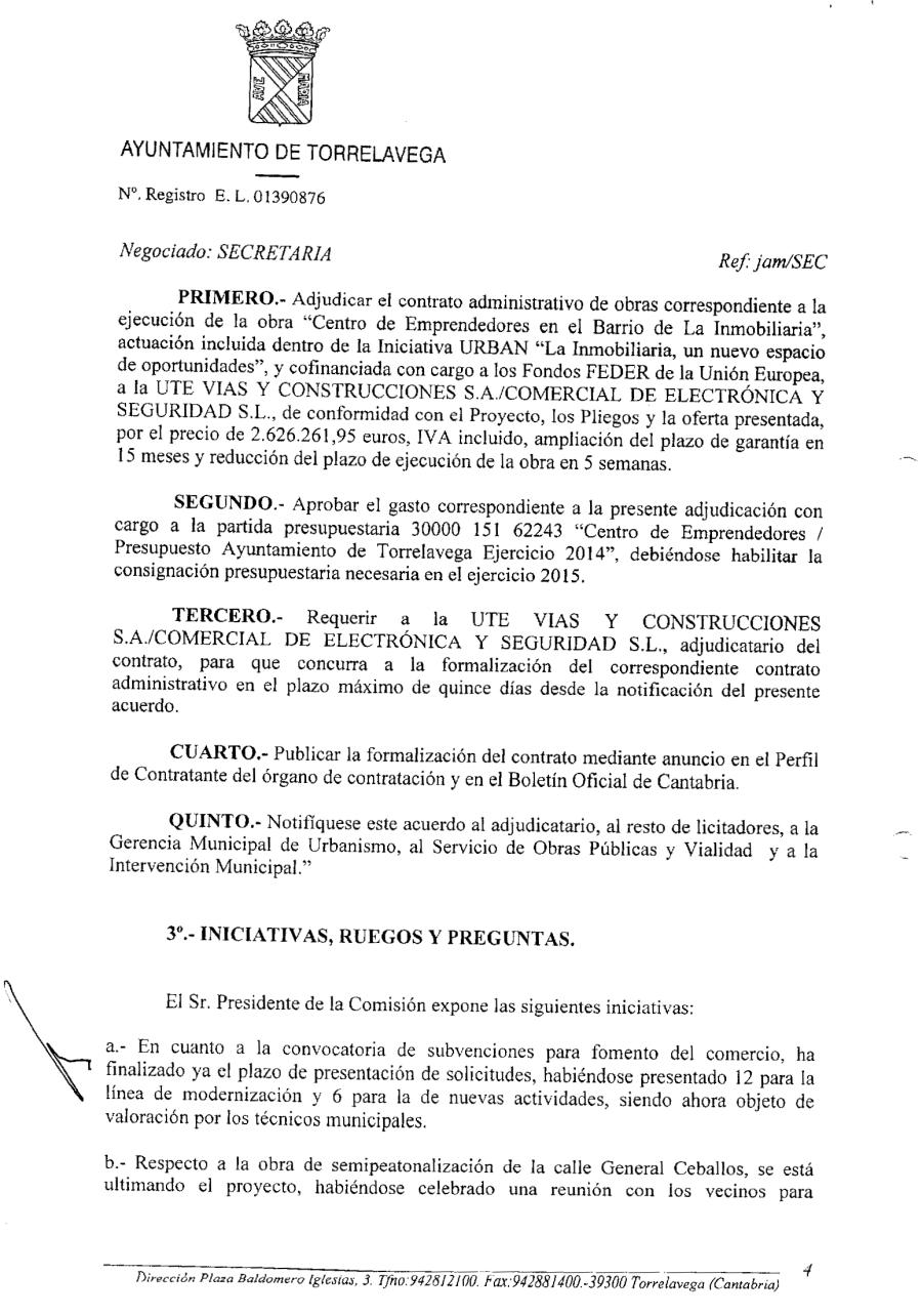 Presupuesto de adjudicación con baja temeraria (2,6 millones de €)