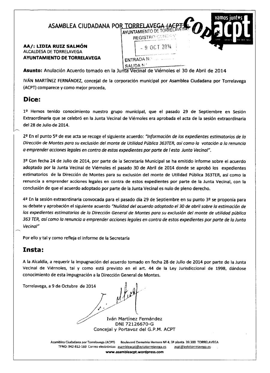 Instancia dirigida a la alcaldesa para impugnar el acuerdo tomado en Viérnoles