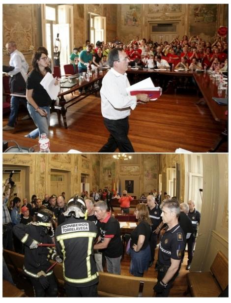 Arriba, José Manuel Cruz Viadero y Lidia Ruiz Salmón, concejales del PSOE en la oposición, abandonan el pleno en solidaridad con las protestas laborales, en octubre de 2013. Abajo, los vecinos que ejercen su derecho a manifestarse son desalojados del salón de plenos por el alcalde Cruz Viadero del PSOE, en julio de 2016.