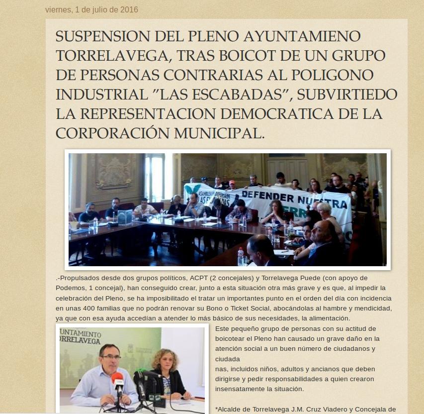 Entrada del blog de José Ignacio Peña Ruiz-Capillas haciendo un llamamiento a la recuperación de la democracia. Periodismo de calidad. http://jignape.blogspot.com.es/2016/07/suspension-del-pleno-ayuntamieno.html